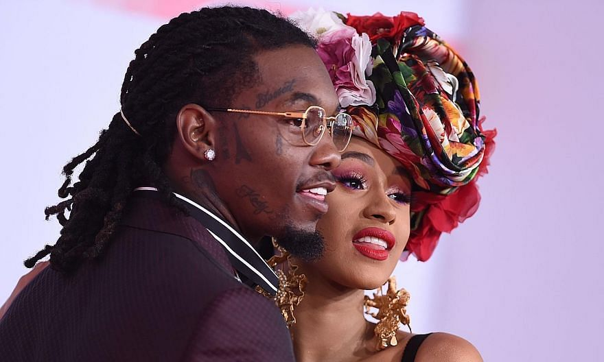 Cardi B and American rapper Offset arriving at the American Music Awards in Los Angeles, California, in October 2018.