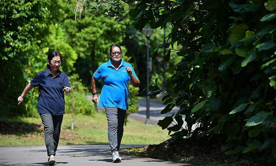 (Above) Retirees Ahsathiamal Subramanian and Ng Moy Loang exercise regularly and maintain a healthy diet to reduce their risk factors for metabolic syndrome.