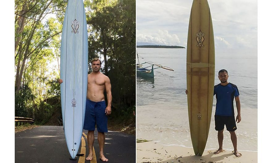 A combination photo showing Mr Doug Falter (left) with his surfboard in 2015 and Mr Giovanne Branzuela with the same board, two years after the American surfer lost it in a wipeout.