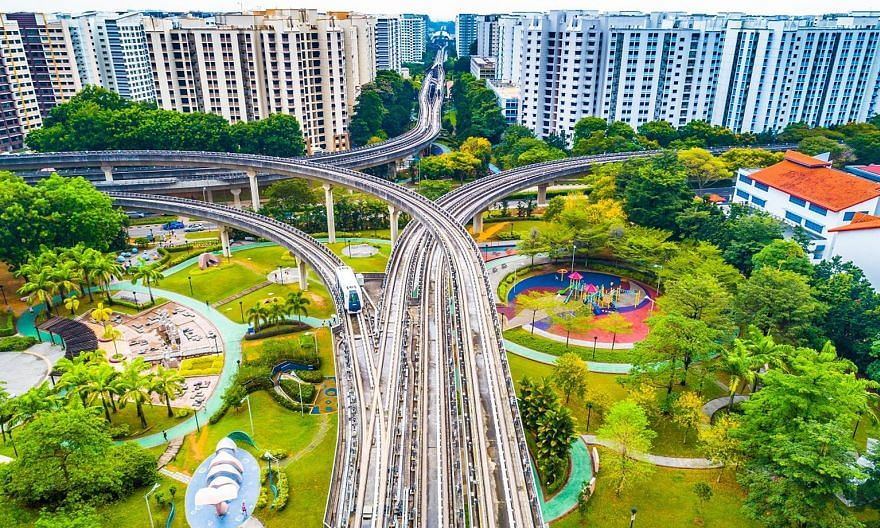 "Mr Soh Eng Kien took this photo of the Sengkang Sculpture Park near Sengkang MRT station using a drone. He says: ""My actual intention was to capture the intertwining LRT tracks from directly above them and I didn't notice the park below or the HDB bl"