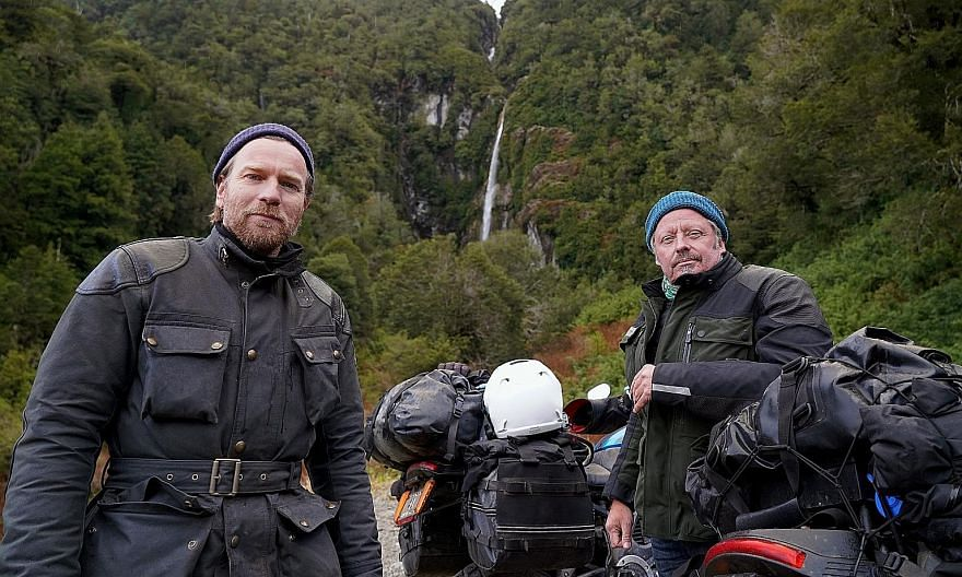 Scottish actor Ewan McGregor (far left) and British television presenter and actor Charley Boorman traverse 13 countries in South and Central America in 100 days in Long Way Up.
