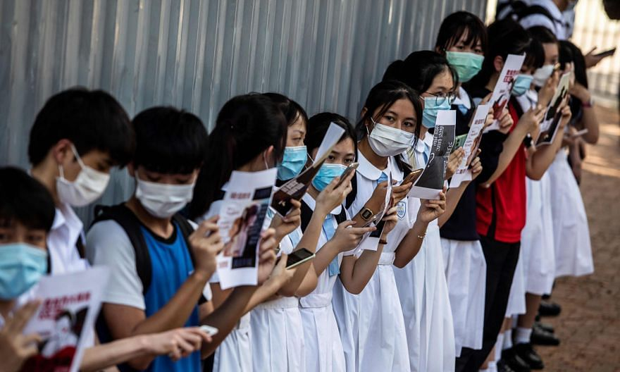 Hong Kong students during a pro-democracy protest in June. Liberal studies is one of four compulsory subjects taught at senior secondary school level in the city. PHOTO: AGENCE FRANCE-PRESSE