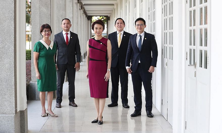 (From left) Ms Denise Phua, Mayor of Central Singapore District; Mr Fahmi Aliman, Mayor of South East District; Ms Low Yen Ling, chairman of the Mayors' Committee and Mayor of South West District; Mr Alex Yam, Mayor of North West District; and Mr Des