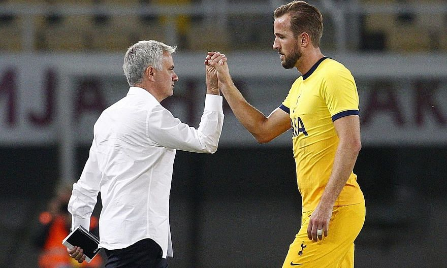 Manager Jose Mourinho with striker Harry Kane after Spurs' 3-1 away win over Shkendija in the Europa League third qualifying round.