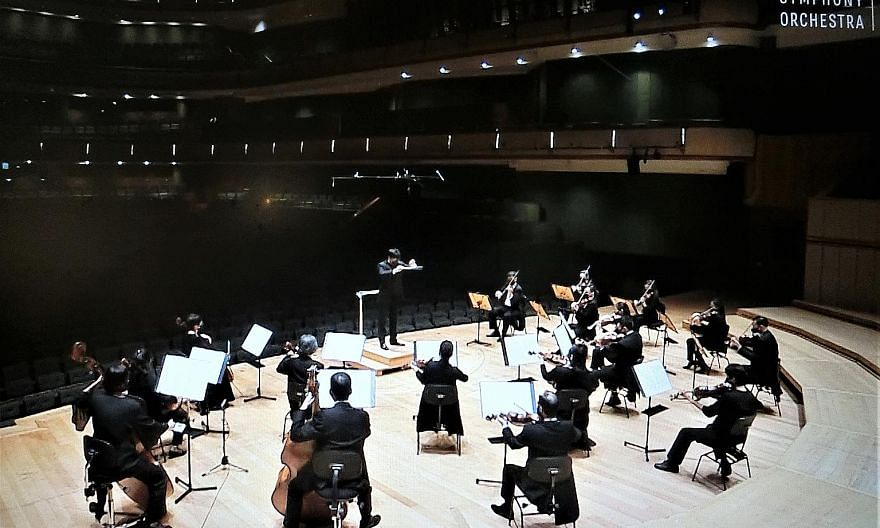 Home-grown conductor Wong Kah Chun leading the Singapore Symphony Orchestra in a chamber concert streamed online.