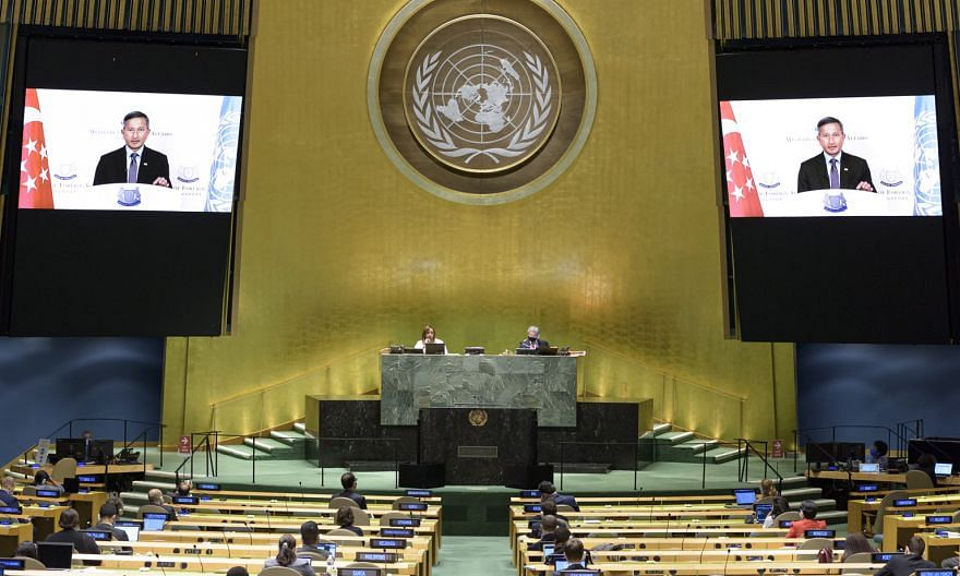 Foreign Minister Vivian Balakrishnan addressing the 75th United Nations General Assembly in New York via video link last Saturday. For the first time, the event has had to go almost completely virtual due to the Covid-19 pandemic. Ensuring an open tr