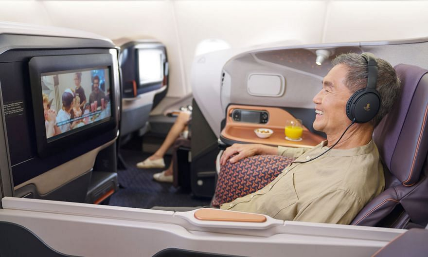 The new initiatives announced by Singapore Airlines yesterday include an in-plane dining service, where customers can sign up to have a meal on board a grounded Airbus A-380 plane. Members of the public can also visit the SIA Training Centre and recr