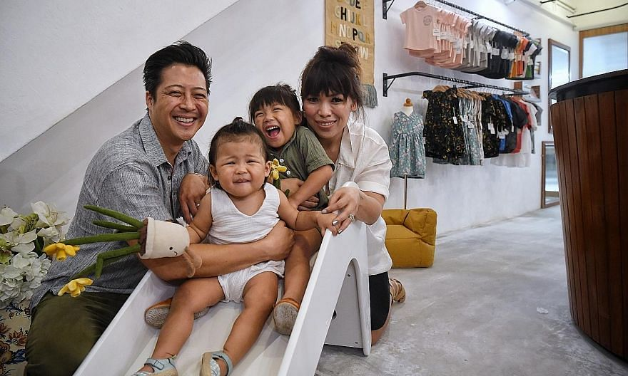 Mrs Iris Ramos and her husband, Dustin, who run menswear brand Duxton in Duxton Road, diversified into Duxton Kids in March last year after they found it hard to find casual wear for their daughters, Matilda, three, and Mackenzie, one, that was funct