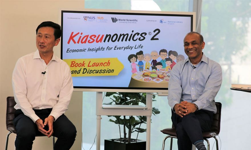 Transport Minister Ong Ye Kung and NUS Business School's Professor Sumit Agarwal at a panel discussion during the virtual launch of Kiasunomics 2: Economic Insights For Everday Life on Thursday. PHOTO: NUS BUSINESS SCHOOL