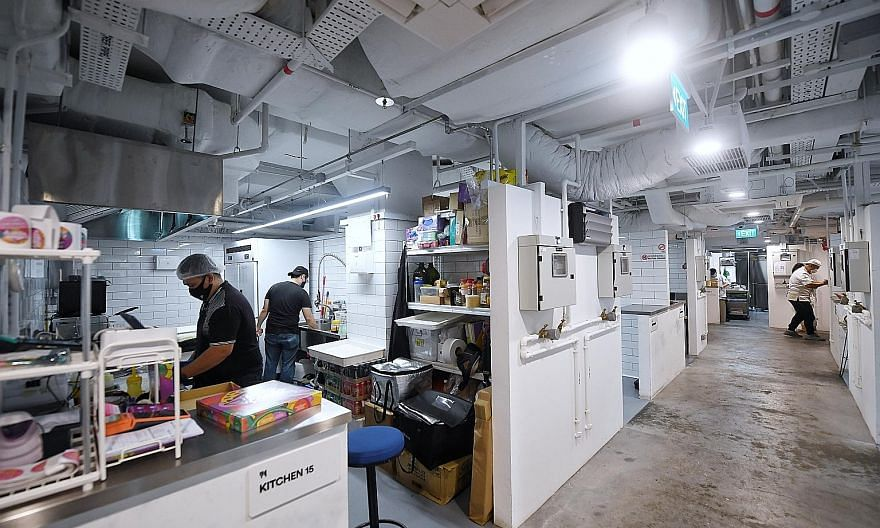 Cloud kitchen operator The Social Kitchen, a social enterprise, has its flagship at the YMCA of Singapore housing nine brands and is looking to eventually have 50 kitchens across Singapore. Orchard Food Market cloud kitchen space by Smart City Kitche