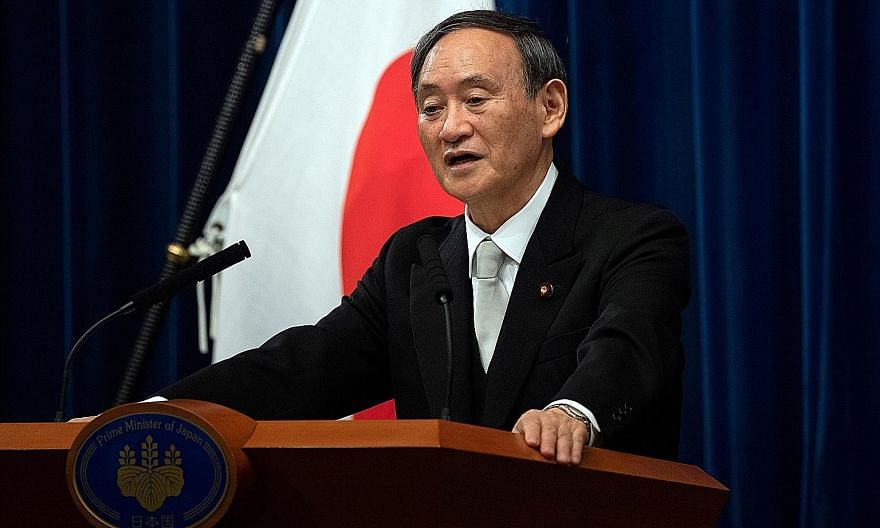 Japanese Prime Minister Yoshihide Suga's expertise, honed from years as chief Cabinet secretary, has been in domestic issues. The Mainichi daily, in an editorial, has called on him to be more proactive internationally. PHOTO: REUTERS