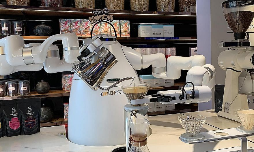 OrionStar's latest robot barista was launched on Sept 25 and can brew a cup of pour-over coffee in three minutes.