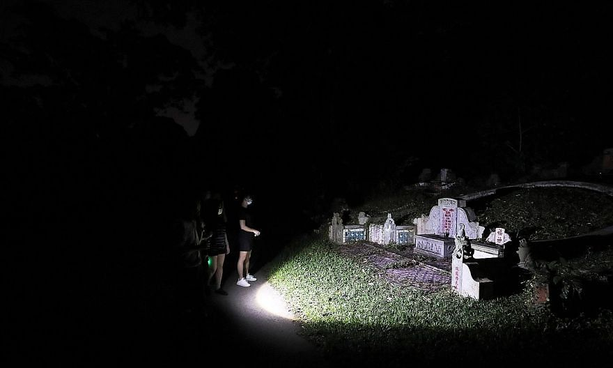 """One of the electromagnetic field detectors picking up some signs of paranormal activity during the walk at Labrador Park. The device is used by guides to """"communicate"""" with paranormal entities during tours."""