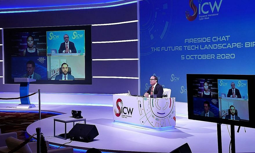 Communications and Information Minister S. Iswaran speaking yesterday at a dialogue that opened this year's Singapore International Cyber Week. SICW is being held in a mostly virtual format this year amid the pandemic. Mr Iswaran likened his vision f