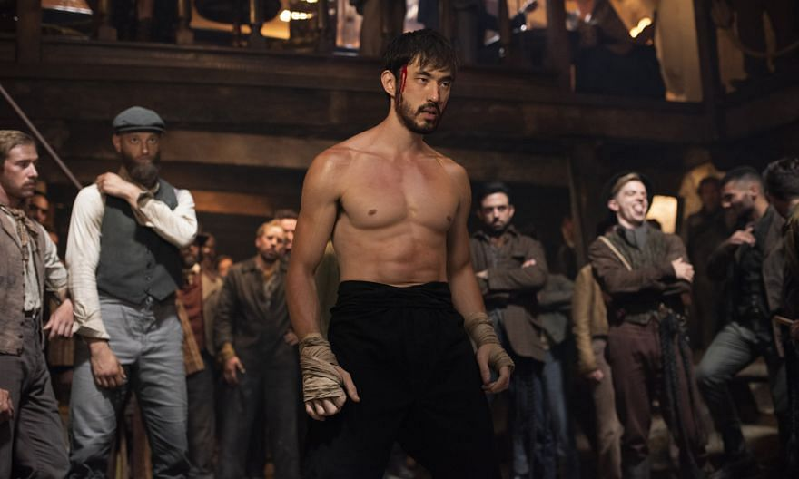 Andrew Koji in Warrior. He plays Ah Sahm, a martial-arts prodigy who emigrates from China to San Francisco in the late 1800s, only to find himself embroiled in Chinatown gang wars.