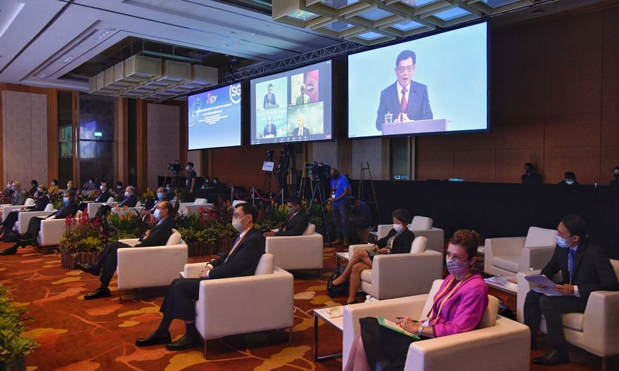 Deputy Prime Minister Heng Swee Keat unveiling the Safer Cyberspace Masterplan 2020 yesterday, at the opening of the fifth annual Singapore International Cyber Week at the Marina Bay Sands Expo and Convention Centre.