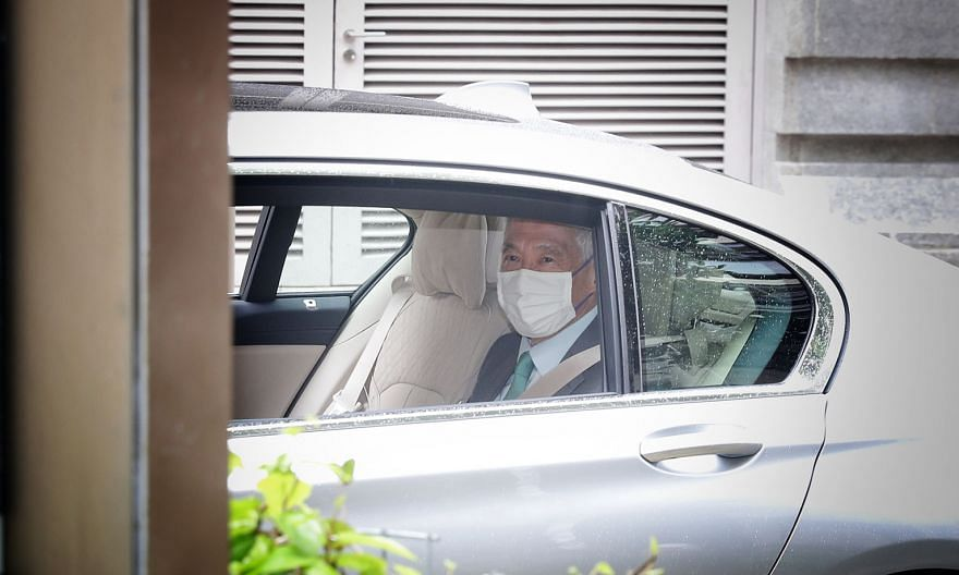 Prime Minister Lee Hsien Loong arriving at the Supreme Court yesterday. PM Lee is seeking substantial damages and an injunction that Mr Leong Sze Hian be restrained from publishing or disseminating the defamatory allegations by any means.