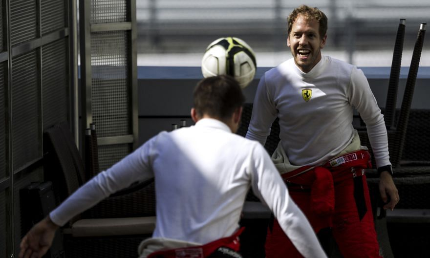 Sebastian Vettel enjoying some downtime with Ferrari teammate Charles Leclerc in Sochi a fortnight ago. Vettel has butted heads with many of his peers, including run-ins with Lewis Hamilton, Max Verstappen and Leclerc.