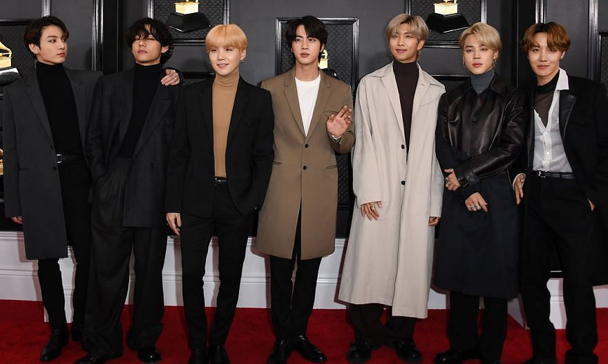 South Korean boy band BTS at the Grammy Awards in Los Angeles in January this year.