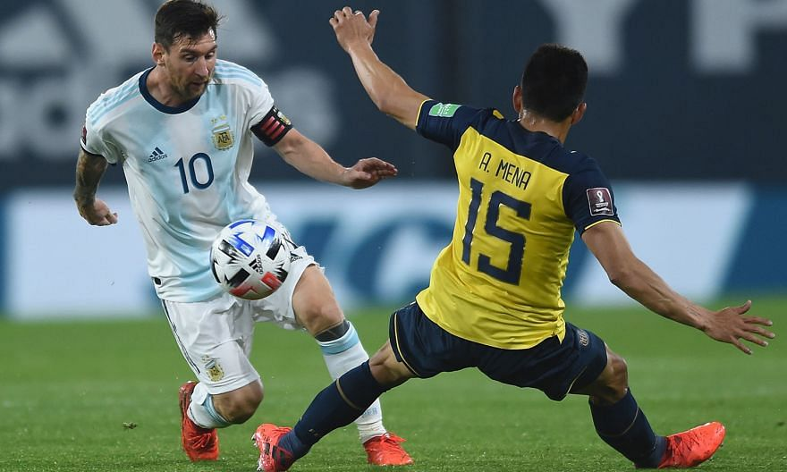 Argentina captain Lionel Messi eluding Ecuador's Angel Mena in their World Cup qualifier in Buenos Aires on Thursday. The 2022 Finals will arguably be the 33-year-old superstar's last chance to win the title.