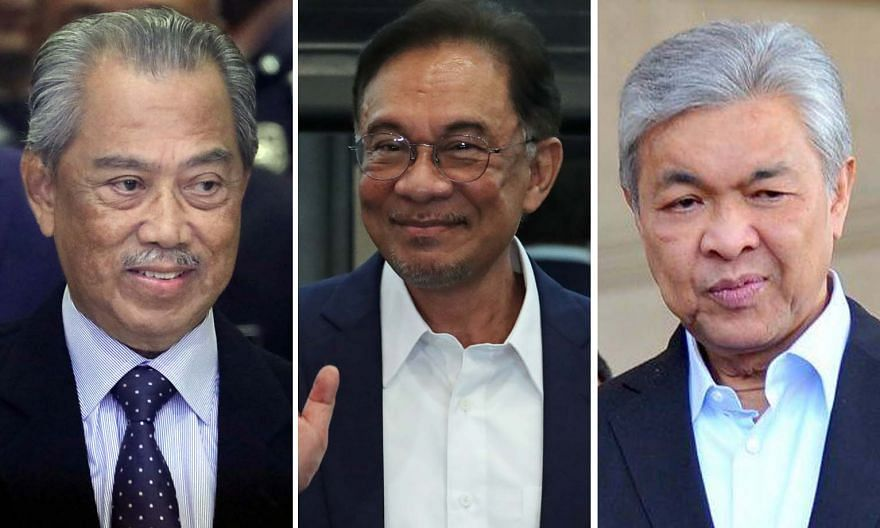 Whether the administration led by Prime Minister Muhyiddin Yassin (top) stays on or opposition leader Anwar Ibrahim (middle) succeeds in his bid for Malaysia's top post will depend on how Umno president Ahmad Zahid Hamidi (below) plays his cards in t