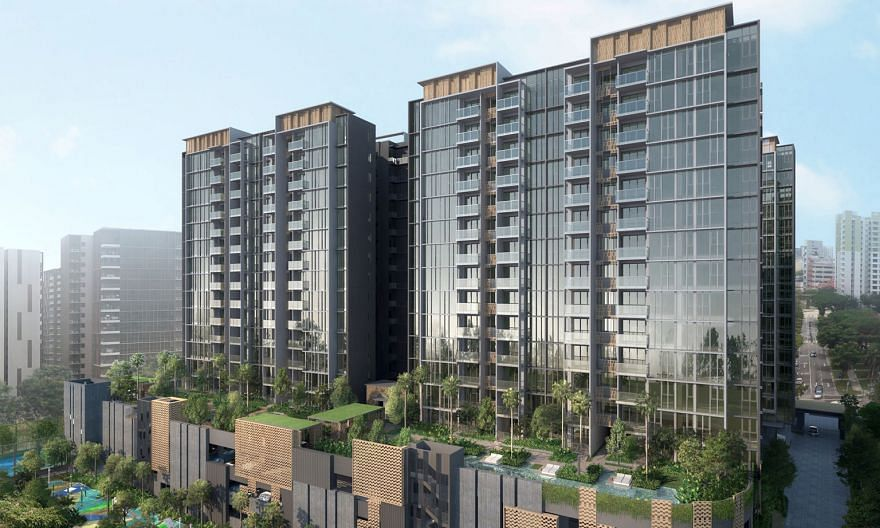 Artists' impressions of Penrose (top) and Treasure at Tampines. New launch Penrose sold 389 units last month at a median price of $1,541 psf; the previously launched Treasure at Tampines sold 115 units at a median price of $1,379 psf.