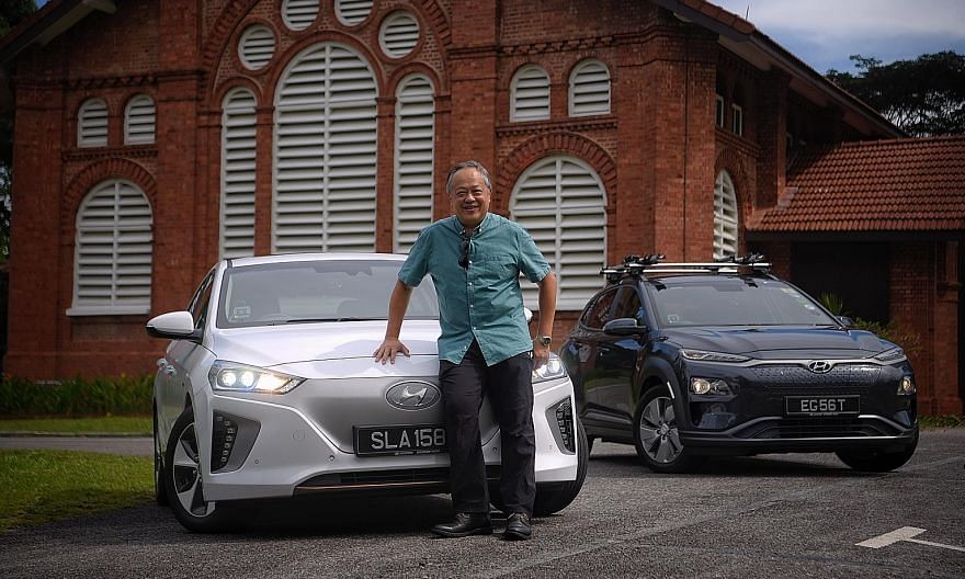 Mr Leslie Chang bought the Hyundai Ioniq Electric (above left) last year and, in July this year, took delivery of the Kona Electric (right), which he shares with his wife.