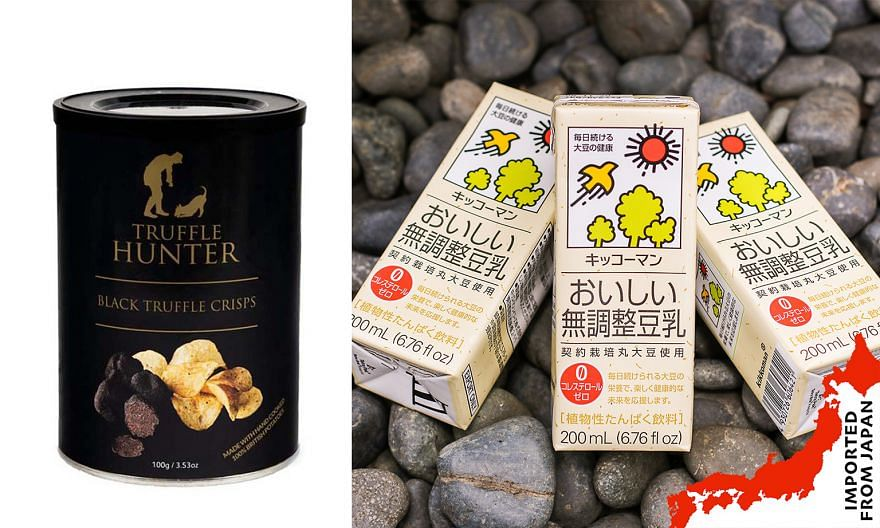 Find products such as Truffle Hunter's black truffle crisps and Kikkoman's unsweetened soya milk at Singapore Food Shows' e-shop. PHOTOS: SINGAPORE FOOD SHOWS