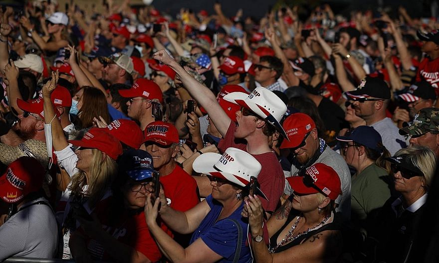 Supporters cheering as United States President Donald Trump spoke at a campaign rally in Carson City, Nevada, on Sunday.