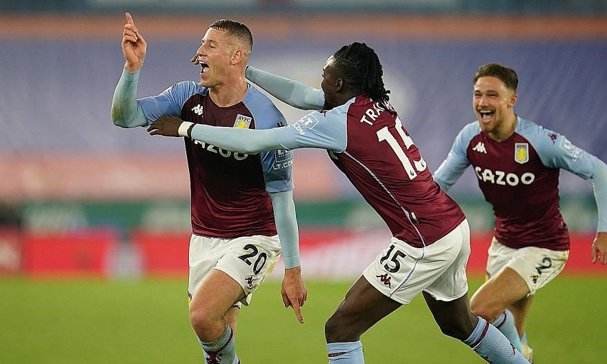 Ross Barkley celebrating his goal in Aston Villa's 1-0 win over Leicester on Sunday, his second in as many matches. PHOTO: EPA-EFE