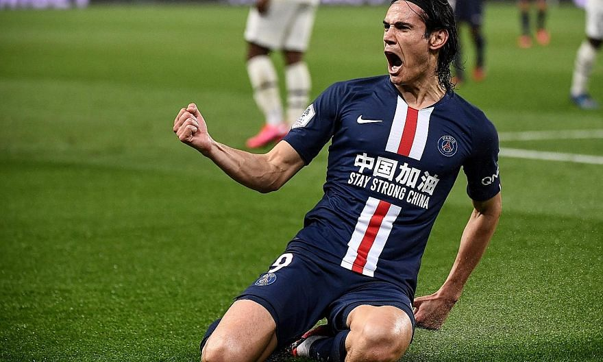 Uruguayan forward Edinson Cavani after scoring one of his 200 goals for PSG. Tonight he returns to the Parc des Princes for an emotional reunion with his ex-teammates, and will be hoping to open accounts with current team United. PHOTO: AGENCE FRANCE