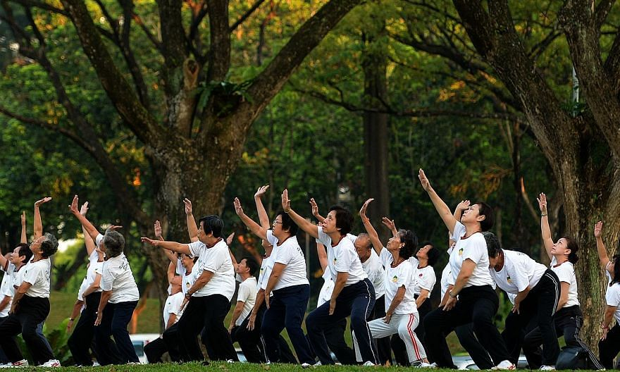 Senior citizens exercising at Bishan Park. The lead author of the Mercer CFA Institute Global Pension Index notes that Singapore's Central Provident Fund has an annuity focus, with an income-oriented system that allows for money to be set aside for t