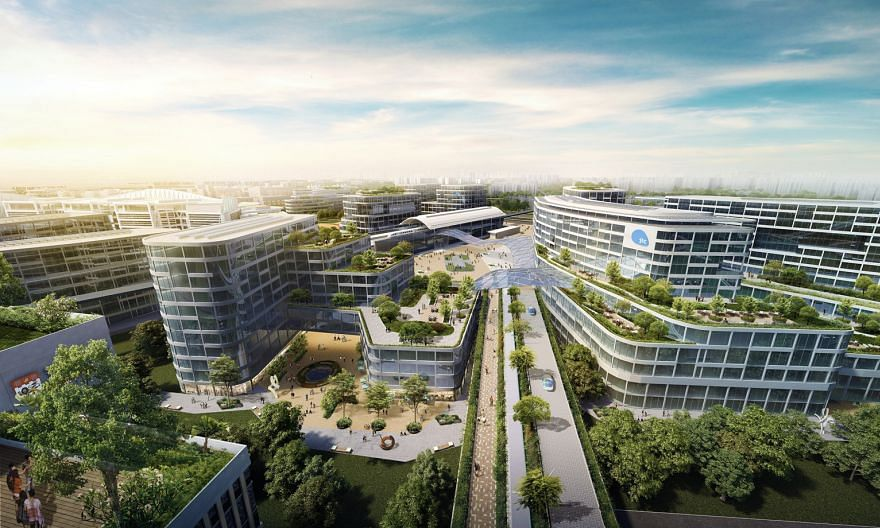 An artist's impression of the Jurong Innovation District manufacturing hub, the first phase of which is expected to be completed around 2022. The Advanced Manufacturing Training Academy, to be located in the district, will work with schools and train