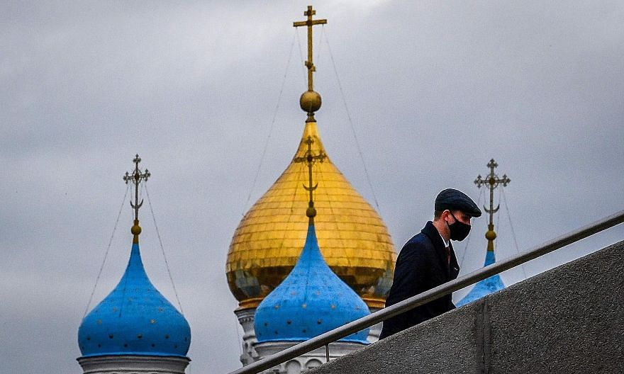 Novospassky Monastery in Moscow. Russia recorded 15,700 new infections yesterday, while the daily record high of 317 deaths pushed the total number of fatalities since the start of the pandemic to 24,952.
