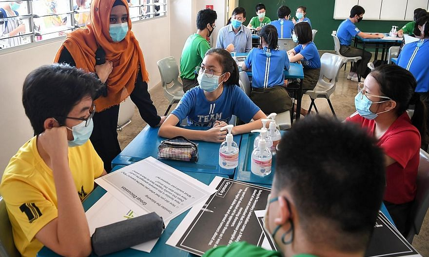 Secondary 3 students in a character and citizenship education class in Tampines Secondary School in July. The Education Ministry said Singapore's language policies and programmes contributed to the nurturing of global competency knowledge, skills and