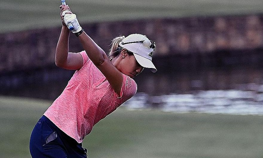 Danielle Kang on the way to notching a seven-under 65 in the opening round of the LPGA Drive On Championship-Reynolds on Thursday. She shared the lead with fellow American Jennifer Song.