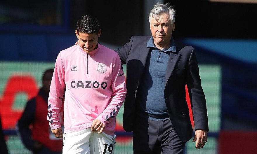 Everton manager Carlo Ancelotti and James Rodriguez were a happy pair after last month's 5-2 thrashing of West Brom. The Colombian playmaker was injured in the 2-2 derby draw but may be fit for today's Saints game.