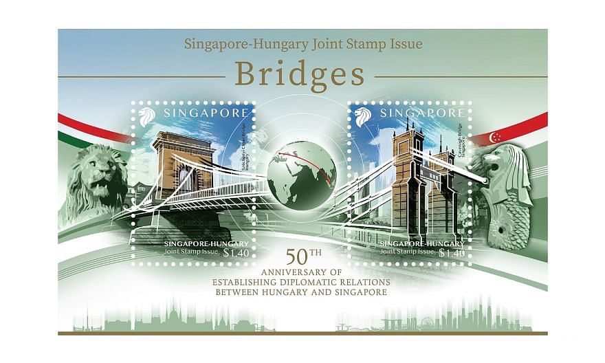 The joint stamp issue features Budapest's Szechenyi Chain Bridge on the left and Singapore's Cavenagh Bridge on the right.