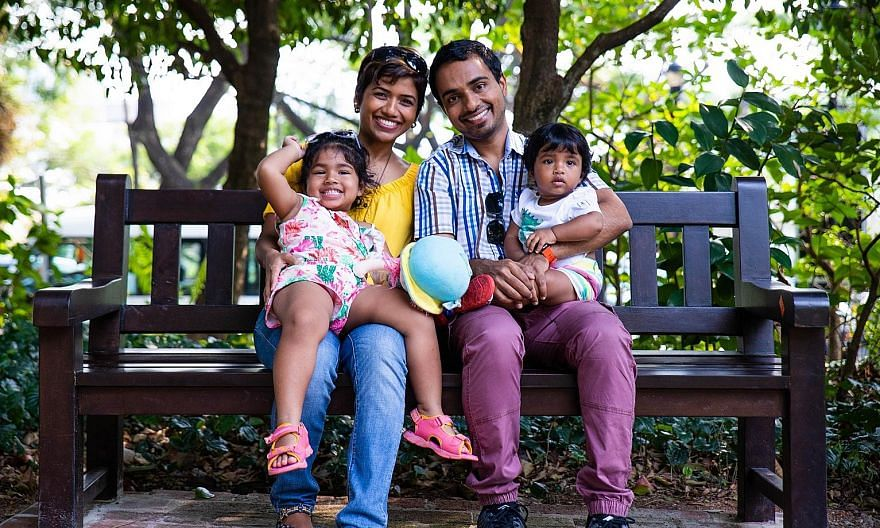 Mr Jason Blaise D'Souza with his wife Lynda and their daughter, aged four, and son, aged two. He had been stammering since he was eight and had a breakthrough in 2018 after trying the McGuire programme.