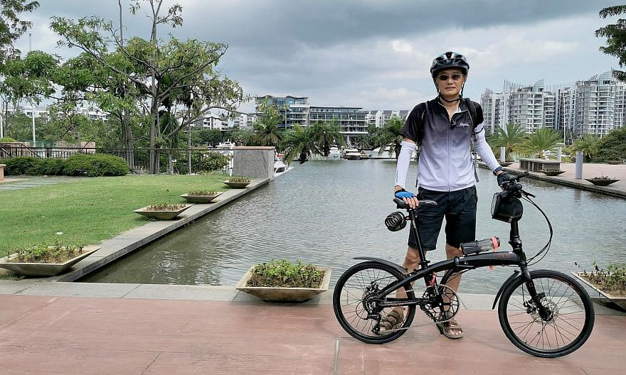 Jason Tay, 57, hopes friends around his age will be inspired by his OCBC Cycle 42km attempt and exercise to keep fit. PHOTO COURTESY OF JASON TAY