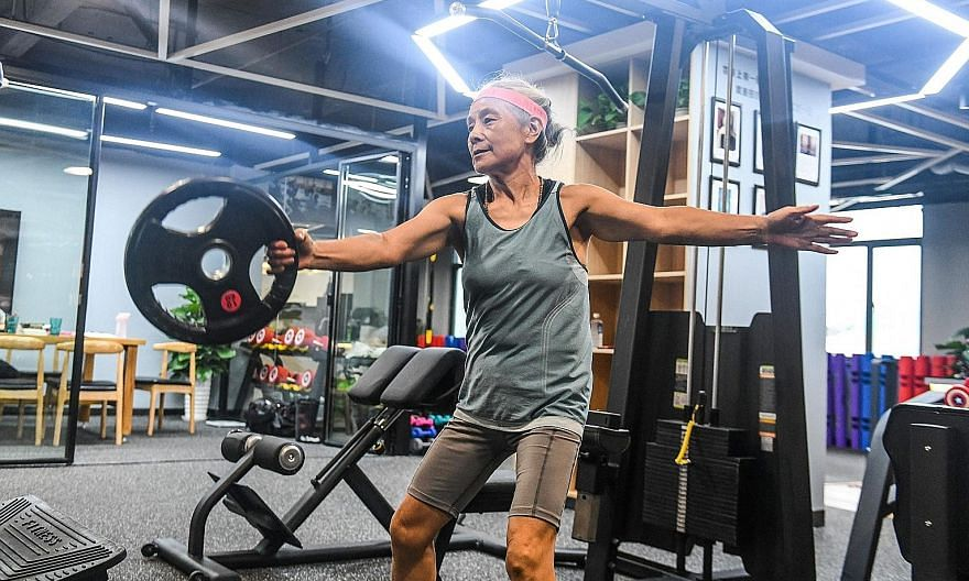 Grandma Chen Jifang, 68, from Shanghai has become a minor celebrity in China as her newfound love of working out has made national headlines.