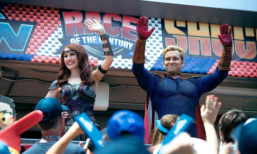 Queen Maeve (played by Dominique McElligott, left) and Homelander (Antony Starr, right) are part of the superhero team known as The Seven. However, behind closed doors, she is disillusioned and burnt out, while Homelander does not really care about t
