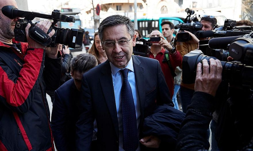 Then Barcelona president Josep Maria Bartomeu in March. He backed the club joining the much-criticised European Super League.