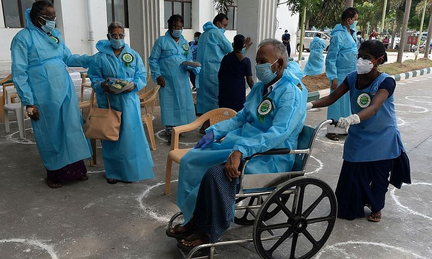 People with heart conditions who recovered from Covid-19 preparing to return home during World Heart Day celebrations at a government hospital in Chennai last month. Treatment in government hospitals is free, but a shortage of beds and lack of trust