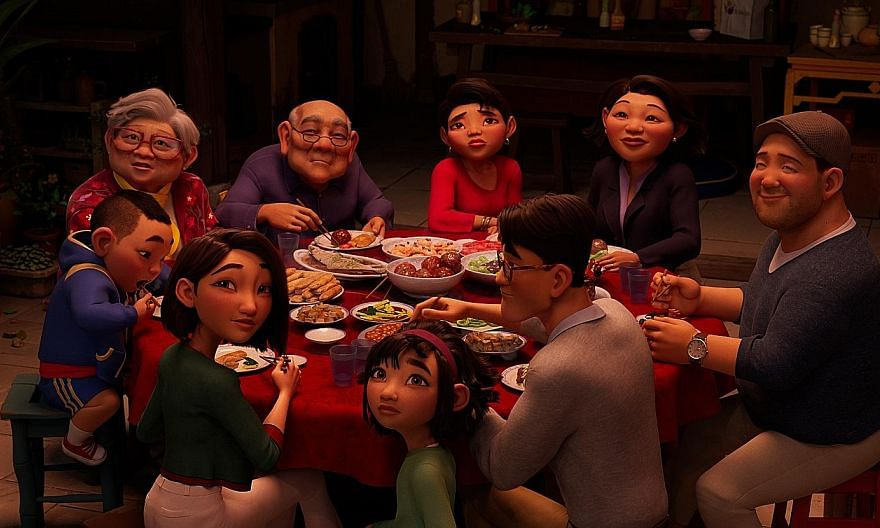 Teenage heroine Fei Fei (centre, in green) and her family in animated musical Over The Moon.