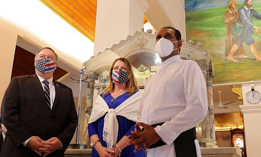 US Secretary of State Mike Pompeo and his wife Susan yesterday visited Colombo's St Anthony's church, which was among the sites of last year's militant suicide attacks in Sri Lanka on Easter Sunday.