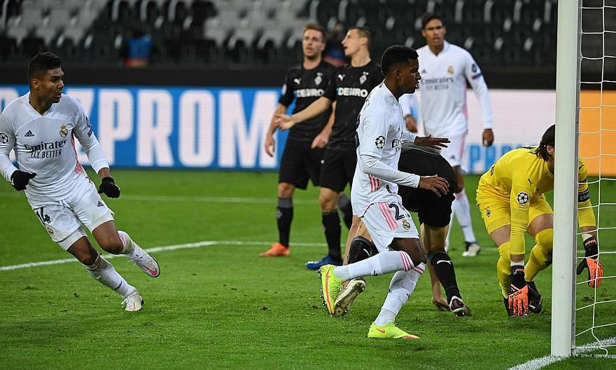 Casemiro reeling away after rescuing a point for Real away to Gladbach on Tuesday. While still bottom of Group B, the 2-2 draw meant they avoided a fourth straight loss in the Champions League.