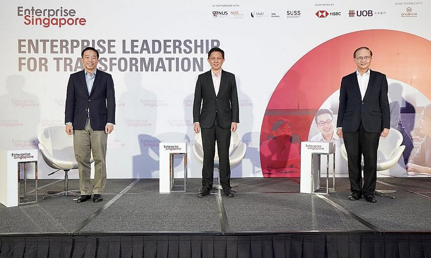 (From left) Enterprise Singapore chief executive Png Cheong Boon, Minister for Trade and Industry Chan Chun Sing and Enterprise Singapore deputy chief executive Ted Tan at the launch of the Enterprise Leadership for Transformation programme yesterday