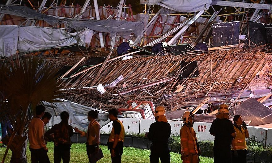 Above: On July 14, 2017, temporary structures at part of the Pan-Island Expressway viaduct gave way, causing the death of one worker and injuring 10 others. Left: Leong Sow Hon lost his appeal against a six-month jail term yesterday. ST FILE PHOTOS