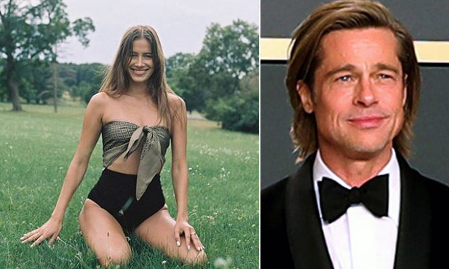 Actor Brad Pitt (left) and model Nicole Poturalski (above) reportedly met in November last year and were confirmed to be dating in August.